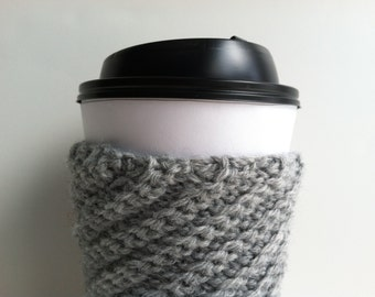 Crochet Coffee Cup Sleeve - Heather Gray Gift Under 10 Reusable Eco Friendly Coffee Lover Gift Coffee Mug Sweater Hot Chocolate Cup Cozy