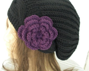 Black Beanie  Knitted Hat  Slouchy Beanie  Womens hat   Slouchy  Hat   flower  Hand Knit Hat  Gift for her Cable Knit Beanie Handmade Hat