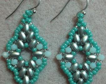 Diamond Duo Earrings Pdf Tutorial (INSTANT DOWNLOAD)