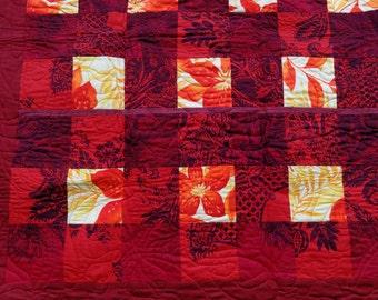 Scandinavian Tropics lap quilt - red, yellow & orange