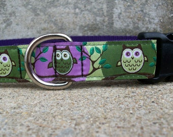 Owl Dog Collar in Purple and Green, In Sizes M, L, XL, Side Release Buckle