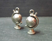 Pair of Vintage Globe Charms - World - Spinning - Silver Tone - 1940s-1950s
