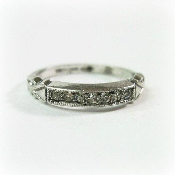 dainty vintage deco ring wedding band by wickeddarling