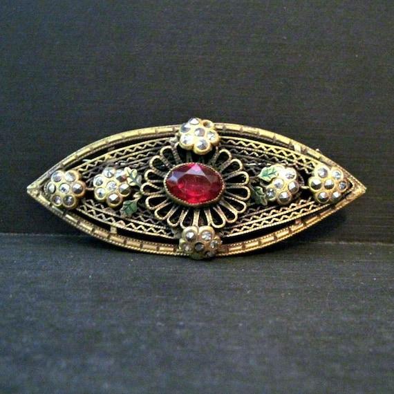 Vintage Art Deco Brooch - Pin - Art Deco Jewelry - Downton Abbey - Filigree - Large - Dark Pink - Green Enamel - Marcasites