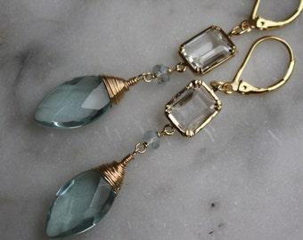 Bridal Earrings, Teal Blue Quartz Marquise, Aqua Blue Chandelier Earrings, Bridal Jewelry, Weddings, Bridal Shop, Summertime, Summer Trend