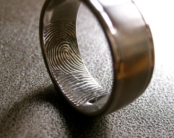 Finger Print Ring in 14K White Gold with Glossy Rims Matte Center and Custom Text Engraving Size 9
