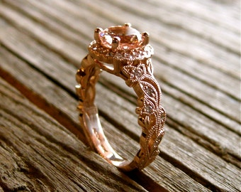 Peach Salmon Morganite & Diamond Engagement Ring in 18K Rose Gold with Leafs Vine and Antiquing Size 7