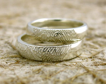 Pair of Personalized Palm Finger Print Wedding Rings in Sterling Silver with Glossy Finish Size 7 & 6