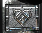 Stained Glass panel - CHAMPAGNE HEART