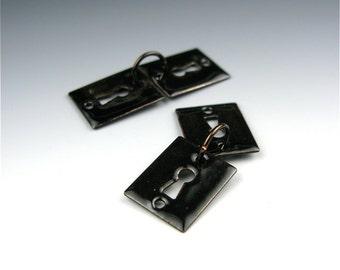 Enameled Key Hole / Black enamel / Made to order