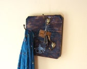 Wall Organizer Vintage Brass Hooks Repurposed Wood - ReclaimedDesigns
