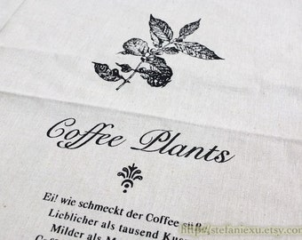 SALE Clearance Unique Linen Collection-French Style Black Natural Sketched Drawing Coffee Plants Herb Poem Letters(11x15.7 inches)