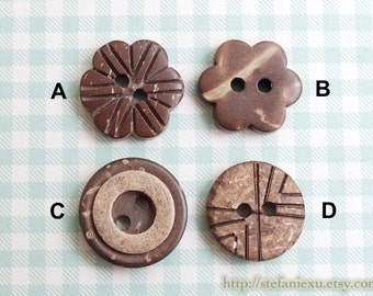 Natural Coconut Buttons - Carved Six Petaled Flower Donuts Lines (4PCS, Choose Pattern)