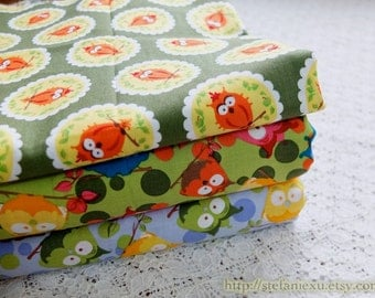 SALE CLEARANCE - 1 Yard Owl Hoot Collection, Lovely Colorful Funny Crown Hoot Owls Collection, Choose Pattern-Cotton Fabric