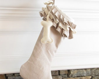 Dog Linen Christmas Stocking Ruffle Top Pet