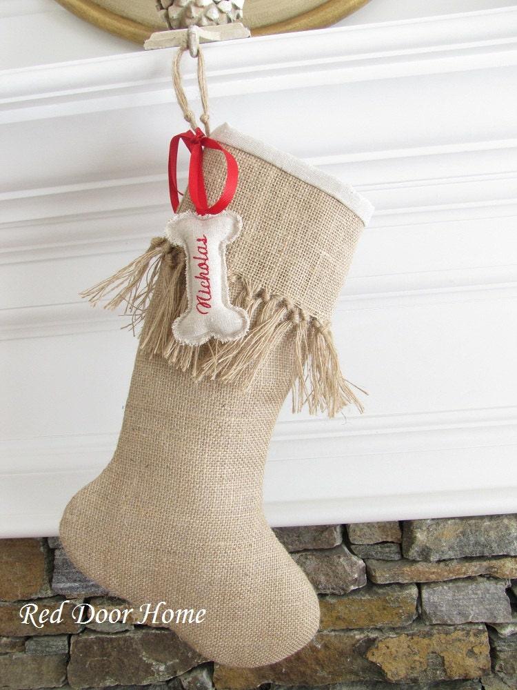 Dog christmas stocking personalized embroidered burlap pet for Personalized dog christmas stocking