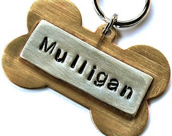 Dog Tag Custom Pet id tag / LARGE Brass Bone with Sterling name plate Multi Metal