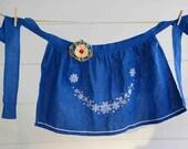 Adult Blue Embroidered Vintage Apron