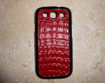 Crocodile embossed leather hard case for Samsung Galaxy S3 - Red