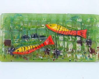 Fused Glass Painting  -  red green fish