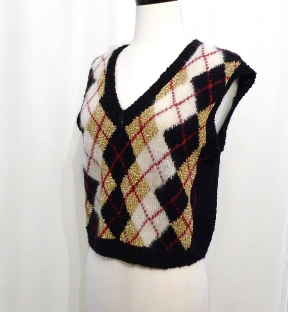 Red Argyle Sweater Vest Argyle Sweater Vest/ Women