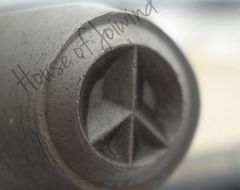 PEACE Sign Symbol  - Metal Design Stamp Punch 6x6mm