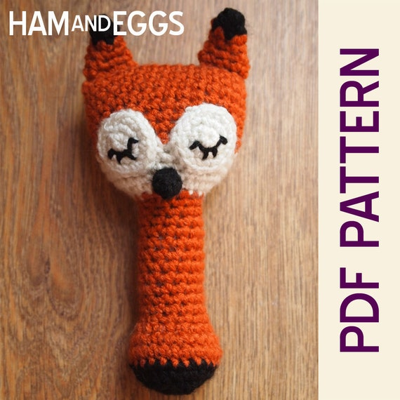 Amigurumi Sleepy Sly Fox Baby Rattle Pdf Pattern