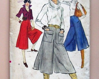 "Ladies' Culottes - Vogue 9608 - Vintage 70's Sewing Pattern, Size 25"" Waist"