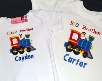 Personalized Big Brother Little Brother Tshirts - Trains Set of 2 shirts