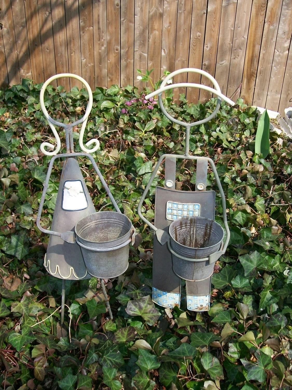 Worn Metal Plant Stand Girl Boy Flower Pot Holder Garden