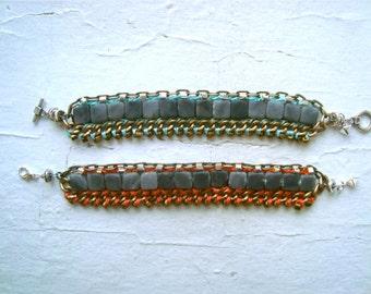 Multi Chain w/ Jasper Beaded Bracelet- Tangerine