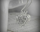 Rhinestone Heart Earrings, Pave Heart Earrings, Valentine's Gift, Romantic Gift, Gifts under 30
