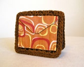 CLEARANCE 50% off, Rust mod squares crocheted wallet