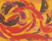 The Bullfighter, digital print, bull, bullfighter, toreador, red, black, purple, yellow, swirls