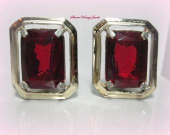 Vintage Claudette Large Ruby Red Stone Earrings Modern Geometric Design