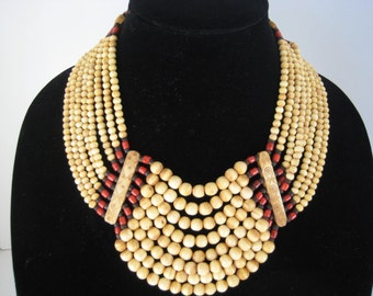Vintage Large Tribal Bib Necklace  Elk Horn/ Red Glass/ Black Wood Beads  Bold Statement Jewelry
