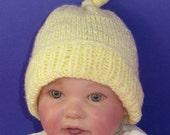 Instant Digital File pdf download knitting pattern -  Baby Topknot Beanie pdf download knitting pattern