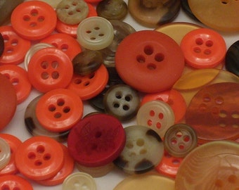 75 Assorted Orange and Brown Buttons // Button Destash Mix