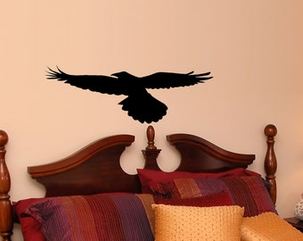 Flying Raven Vinyl Wall Decal, Poe, Gothic