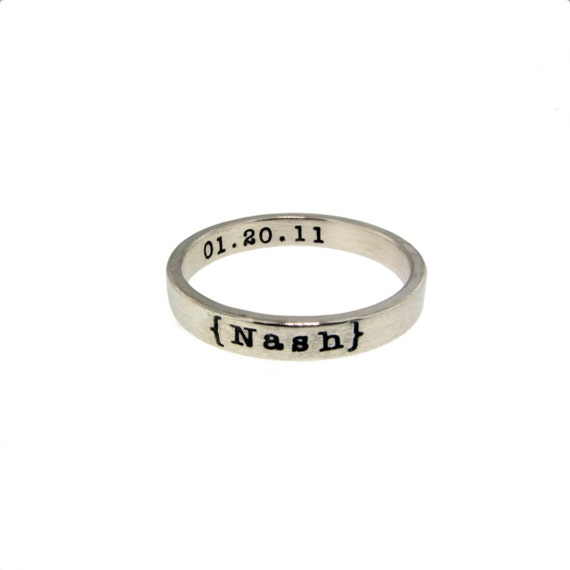 Personalized Sterling Silver Stacking Ring Custom Skinny Posey Band Hand Stamped Names Birth Dates Engraved Mommy Jewelry Artisan Handmade