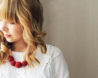 Burgundy necklace  - statement jewelry strand necklace nursing breastfeeding  - rusteam ohtteam - red vine