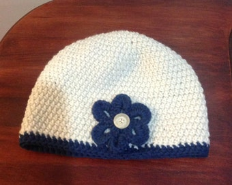 Off White and Colonial Blue Beanie with Flower