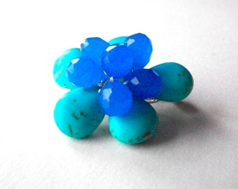 Blue flower pin, turquoise gemstone flower brooch wire wrapped with periwinkle blue briolette center, bead flower jewelry