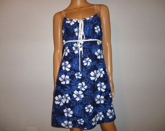 """Vintage 1980's - HAWAIIAN - Bule and White - Hibiscus - Floral - Empire Waist - Mini - Sun - Summer - Dress - marked size L - 34"""" - 36"""" bust"""