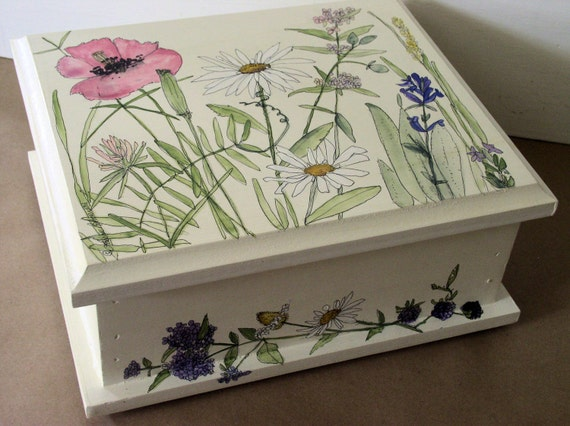 Painted Furniture Nature Boxes Botanical Garden Woodland Wildflowers Herbs Custom Made