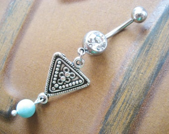 Belly Button Ring Jewelry. Tribal Triangle Belly Button Jewelry Ring Piercing Turquoise Beaded Navel Bar Barbell Belly Button Ring Jewelry