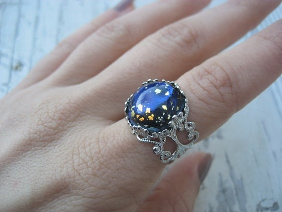 Galaxy Opal Ring Simulated Gem Art Glass Blue Navy Blue Black