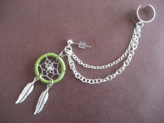Lime Dream Catcher Ear Cuff Chain Cartilage Earring- Green Feather Dreamcatcher Charm Stud Earcuff Piercing