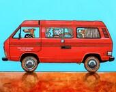 "185 VW T3 camper – print 38x38cm/15x15"""