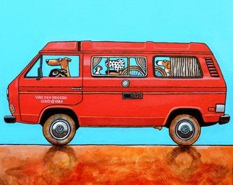 "185 VW T3 camper – print 14x14cm/5.5x5.5"""